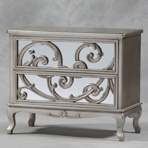 Rococo Mirrored Chest of Drawers in Antique Silver